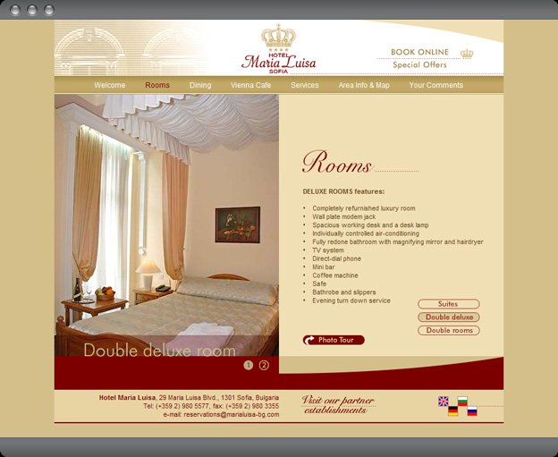 Web design website hotel maria luisa sofia for Hotel web design